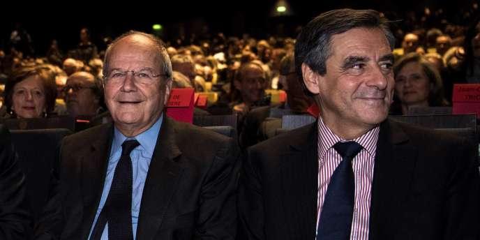 Marc Ladreit de Lacharrière et François Fillon, le 3 octobre 2016.