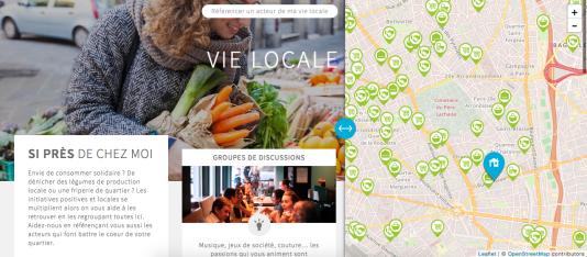 Capture d'écran du site de proximité pour le partage entre voisins «Smiile», à Lorient