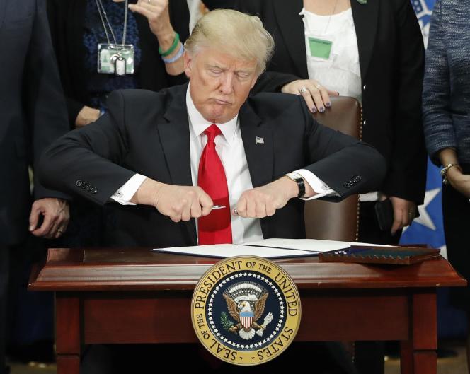 Le président Trump au ministère de la sécurité intérieure (« Homeland security department»), le 25 janvier 2017.