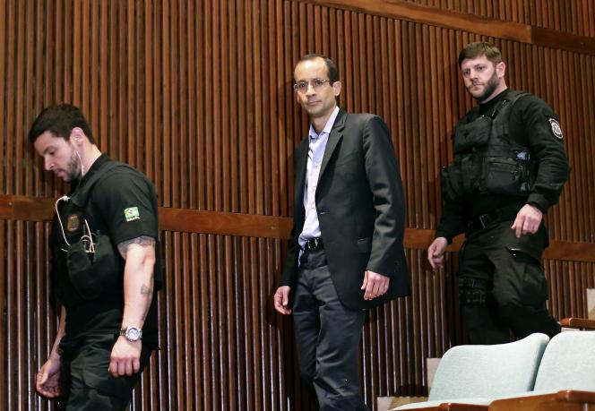 Marcelo Odebrecht, héritier du groupe de BTP, à la Cour de justice de Curitiba (Parana), dans le sud du Brésil, en septembre2015.
