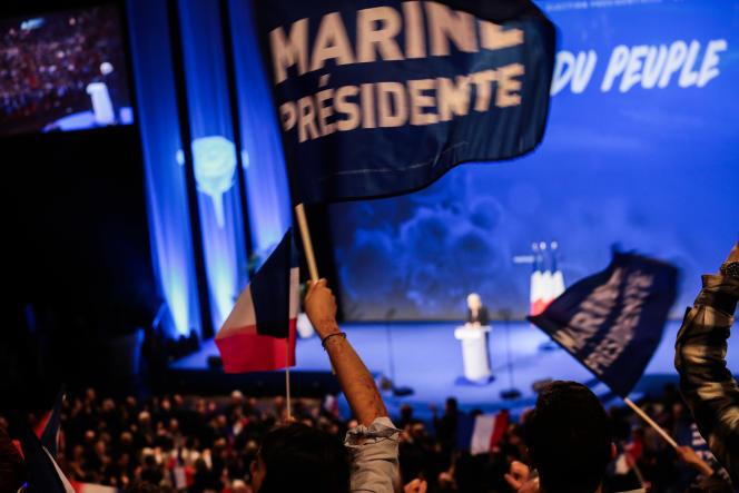 Pendant le discours de Marine Le Pen à Lyon le 5 février.