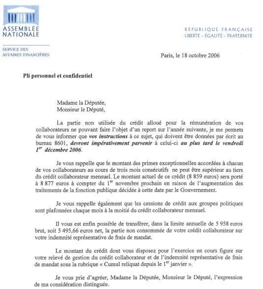 Courrier de l'Assemblée nationale aux députés relatif à l'utilisation de l'enveloppe collaborateurs.
