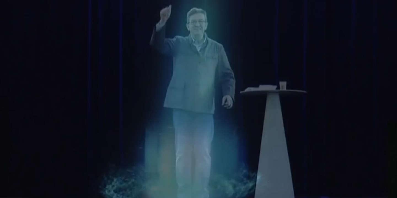 Jean-Luc Mélenchon apparaît en meeting sous forme d'hologramme