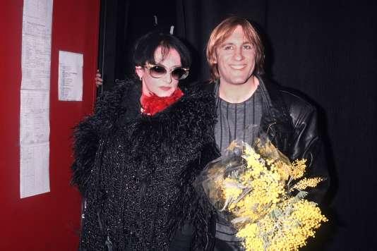 Barbara et Gérard Depardieu, en février 1986, à la sortie du spectacle « Lili Passion» au Zénith de Paris.