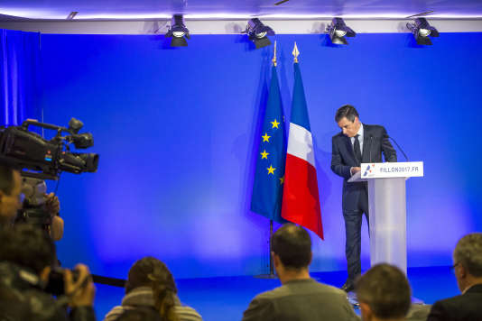 Conférence de presse de François Fillon, candidat Les Républicains de la droite à la présidentielle 2017, à propos de l'affaire «Penelope Fillon» dans son QG de campagne à Paris, lundi 6 février 2017.