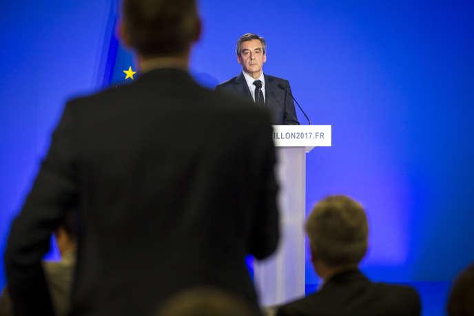 Conférence de presse de François Fillon à propos de l'affaire «Penelope Fillon» dans son QG de campagne à Paris, lundi6février.