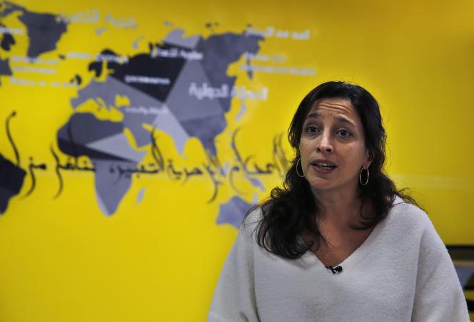 Lynn Maalouf, de l'ONG AmnestyInternational, s'exprime à Beyrouth sur la situation dans les prisons en Syrie,le 6 février.