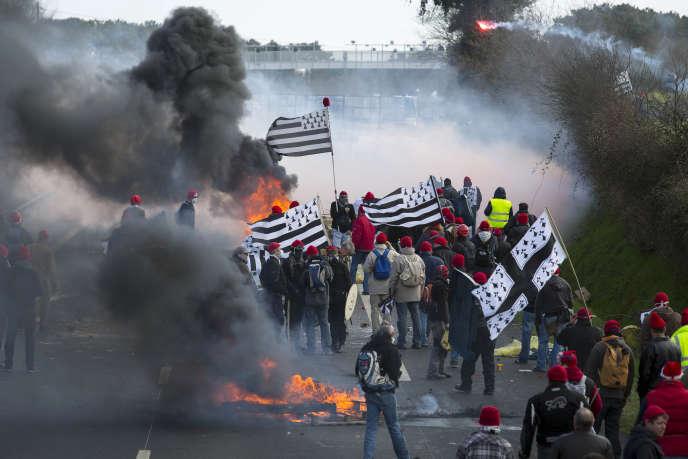 Manifestation contre l'écotaxe près de Brest, le 15 février 2014.