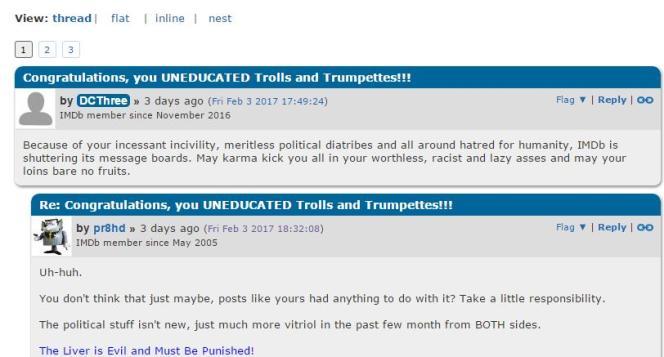 Un échange cordial entre utilisateurs du forum IMDB après l'annonce de sa fermeture.