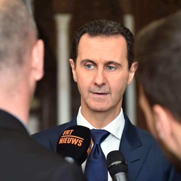 Bachar Al-Assad, lors d'une interview avec un média belge, le 7 février (photo fournie par l'agence de presse officielle syrienne).