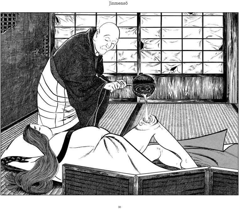 Fantômes, démons, divinités mineures hantent l'imaginaire collectif japonais. Ces « yôkaï » ont été mis en scène par Shigeru Mizuki dans ses livres. Les éditions Cornélius compilent ces estampes du mangaka disparu en 2015. Ici, le yôkaïJinmensô, de la région de Shikoku:la tumeur à visage humainse manifeste comme une maladie cutanée ordinaire, puis la grosseur finit par ressembler à une véritable tête humaine, douée de parole. La douleur se calme quand on le nourrit.