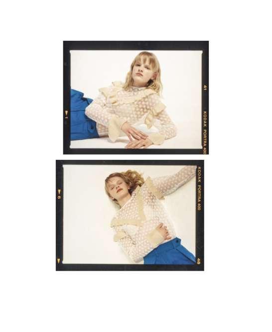 Blouse en dentelle, Sandro. Soutien-gorge en polyamide, polyesteret élasthanne, Maison Lejaby. Pantalon en lin et coton, Sportmax.Puce d'oreille Puzzle en or blanc, Akillis.Mannequins : Hannah @Premier. Model Management, scooter @Emma miranda moore. Coiffure et maquillage : Carolyn Gallyer. Casting : Ben Grimes @Webber represents.Production : White Dot. Assistante styliste : Tiphène Guissard.