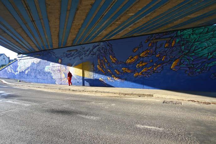 Réalisation d'une fresque sous lepont de Nantes à Rennes. Projet retenu en 2016 dans le cadre du budget participatif.