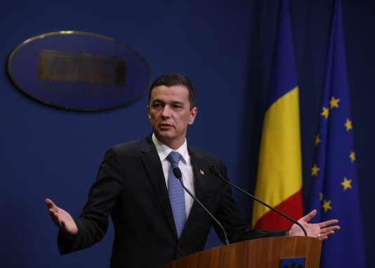 Le premier ministre, Sorin Grindeanu, lors d'un discours àBucarest (Roumanie), le 4février 2017