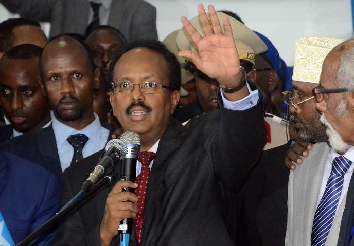 Le nouveau président élu de Somalie et ancien premier ministre, Mohamed Abdullahi Farmajo, s'exprime après sa victoire, le 8 février 2017, à Mogadiscio.
