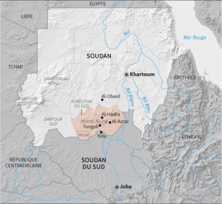 La région du Kordofan du Sud, au Soudan.