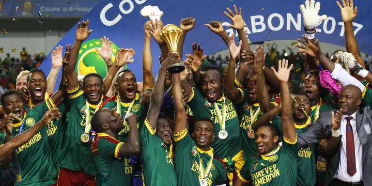 Les Lions indomptables, vainqueurs de la Coupe d'Afrique des nations, à Libreville, au Gabon, le 5 février 2017.
