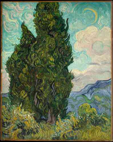 « Les Cyprès », de Vincent van Gogh, huile sur toile, en 1889.