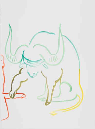 « Le Buffle Lucky colors : disputé – peut-être bleu, jaune, vert, rouge, violet, blanc » Ma récolte lente ouvre le poing comme une éponge sous l'eau. J'investis la part maudite creusant le sillon seul. Je suis le noyau dur je suis son lit aussi leur accroissement.