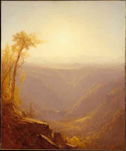 « A Gorge in the Mountains (Kauterskill Clove) », par Sanford Robinson Gifford, huile sur canevas,en 1862.