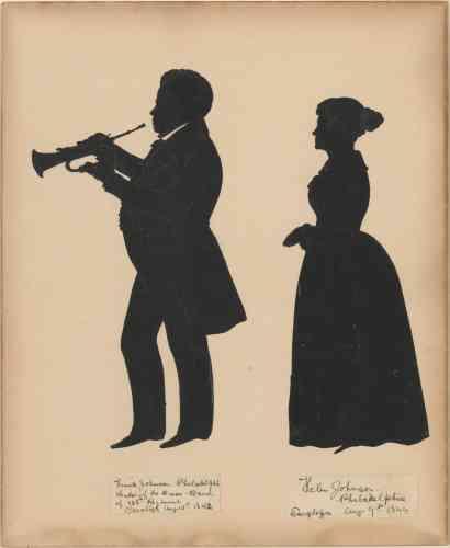 « Frank Johnson, Leader of the Brass Band of the 128th Regiment in Saratoga, with his wife, Helen », d'Auguste Edouart, papier découpé sur planche,entre 1842 et 1844.