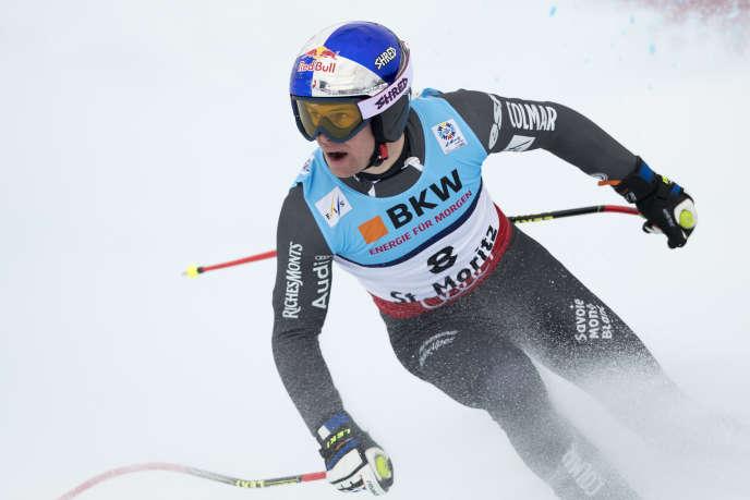 Alexis Pinturault dans l'épreuve du super-G, le 8février, à Saint-Moritz (Suisse).