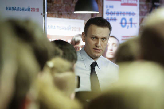 Alexei Navalny lors de l'inauguration de son QG de campagne à Saint-Pétersbourg (Russie) le 4 février.