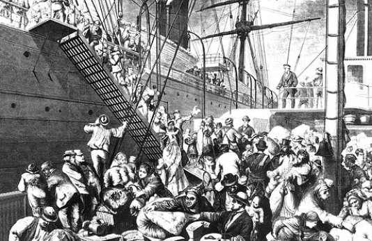 Émigrants allemands s'embarquant pour New York depuis le port de Hambourg. Image de Harper's Weekly du 7 novembre 1874