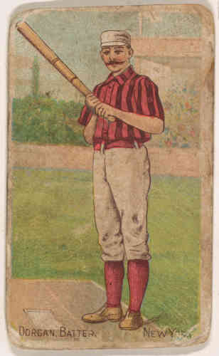 «Dorgan, Batter, New York, from the Gold Coin series (N284) for Gold Coin Chewing Tobacco», lithographie en couleur, en 1887.