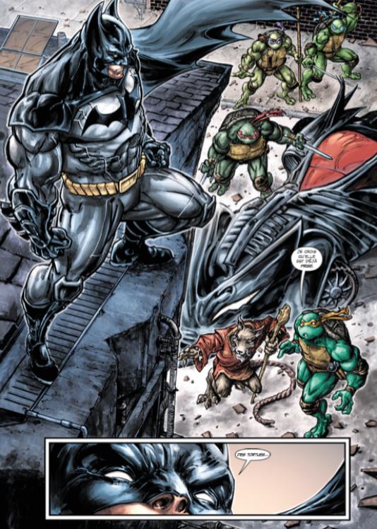 Une planche de« Batman et les Tortues Ninja».