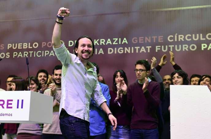 Pablo Iglesiaslors du congrès de Podemos à Madrid le 11 février.