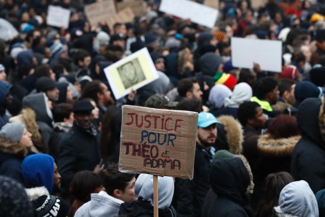 Une manifestion à Bobigny après l'interpellation de Théo, le 11 février 2017.