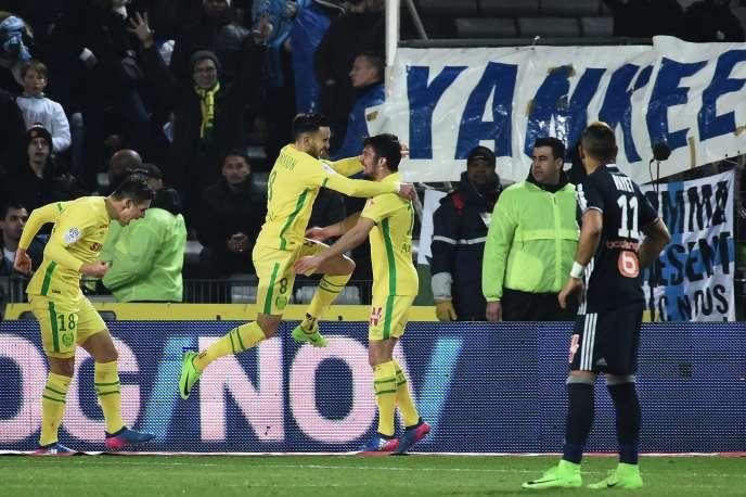 Le Nantais Adrien Thomasson (en l'air) exulte face à Marseille, le 12 février 2017.