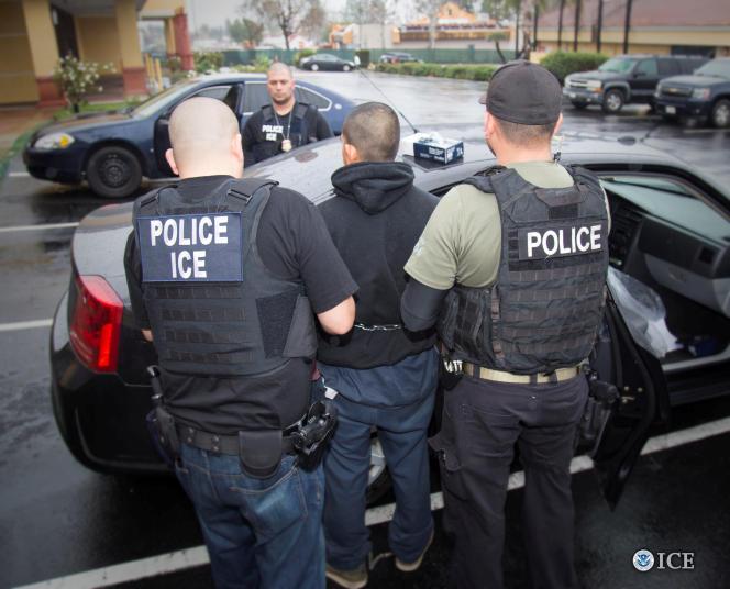Les services des douanes et de l'immigration ont diffusé la photo d'agents lors de l'interpellation d'un sans-papier à Los Angeles, le 7 février.