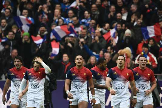 Les joueurs du XV de France, le 12 février à Saint-Denis.