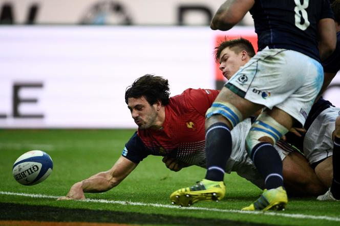 Rémi Lamerat ne peut aplatir, le 12 février contre l'Ecosse.