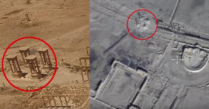 Les images diffusées par l'armée russe semblant attester des dégâts des attaques de l'organisation Etat islamique sur le tétrapyle, un des plus beaux monuments du site antique de Palmyre.