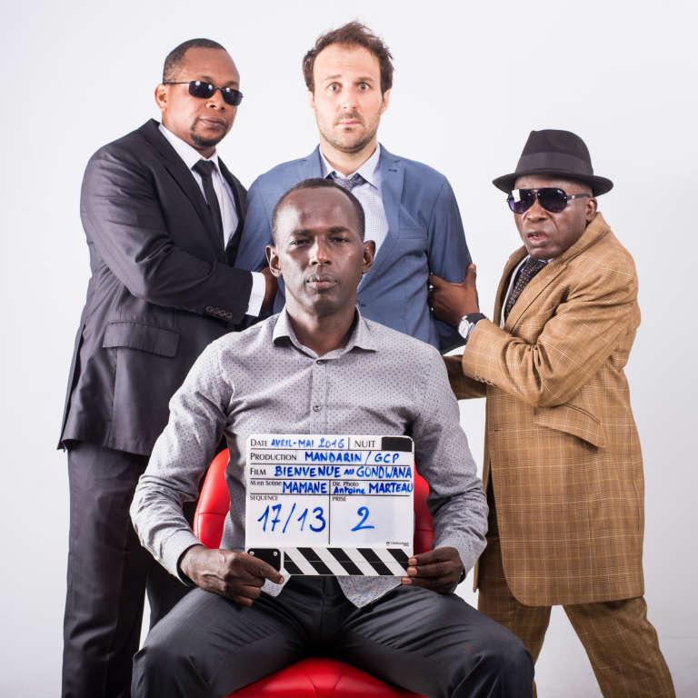 Mamane (au premier plan), Antoine Gouy (au centre) et Michel Gohou et Digbeu Cravate, les acteurs de «Bienvenue au Gondwana».