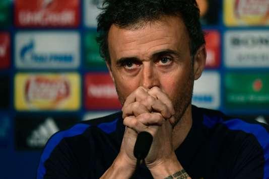Luis Enrique en conférence de presse, le 13février, à la veille du match contre le PSG.