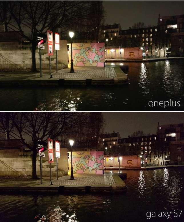 Le OnePlus tient la comparaison avec l'excellent Galaxy S7 pour les photos de nuit, à quelques nuances près.