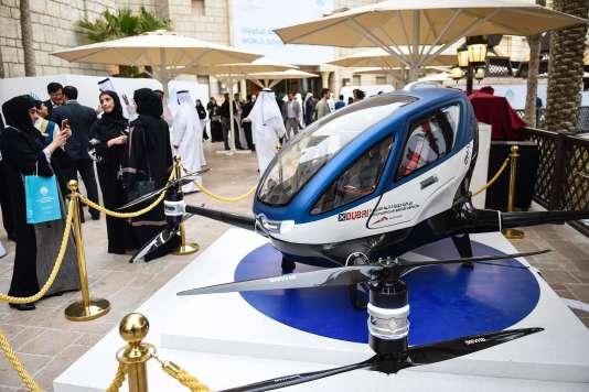 L'Ehang 184 exposé le 13 févrIer à Dubaï.