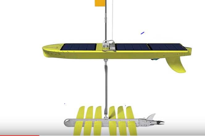 Le Wave Glider se compose d'un drone, en surface, et d'un « tsunamètre» posé sur le fond.