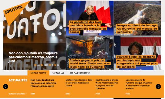 Capture d'écran du site SPUTNIKNEWS.