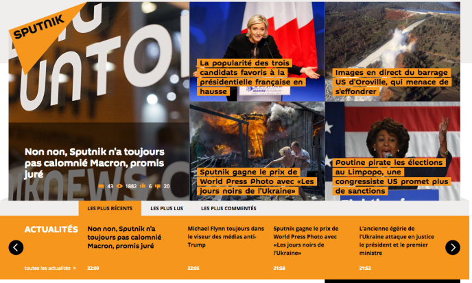Capture d'écran du site SPUTNIKNEWS.