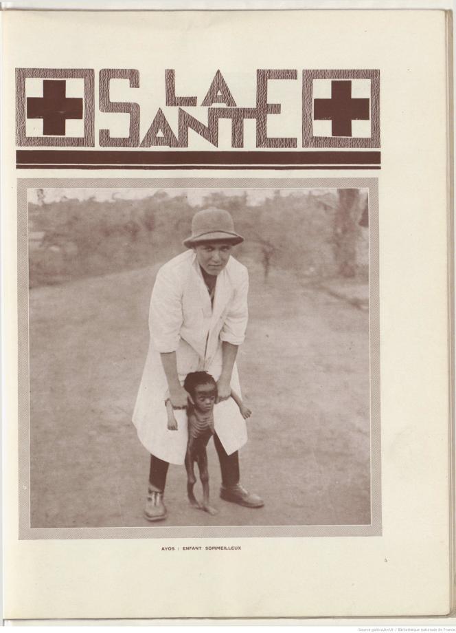 Médecine coloniale : enfant victime de la maladie du sommeil. Extrait du magazine «Togo Cameroun», mai 1931.