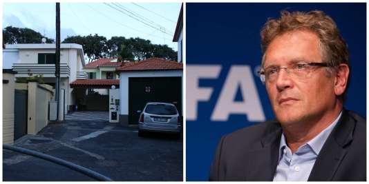 A droite, l'ancien secrétaire général de la FIFA, Jérôme Valcke. A gauche, le siège de sa société Galactic Leisure, situé Rua Nova da Pina, à Madère.