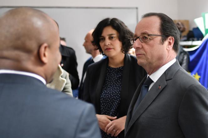 François Hollande en visite à Aubervilliers le 14 février.