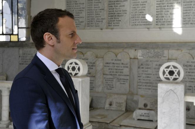 Le candidat à l'élection présidentielle Emmanuel Macron le 14 février à Alger.