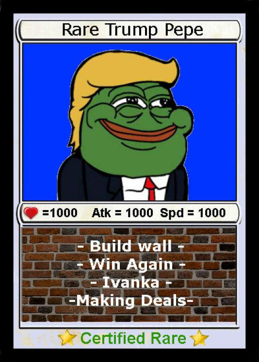 Un mème de Pepe The Frog à l'effigie de Donald Trump, certifié «rare».