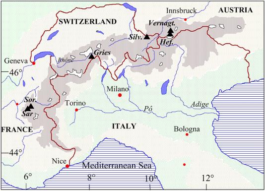Les six glaciers étudiés: Sarennes (Sar), Saint-Sorlin (Sor), Gries, Silvretta (Silv), Hintereisferner (Hef) et Vernagtferner (Vernagt).